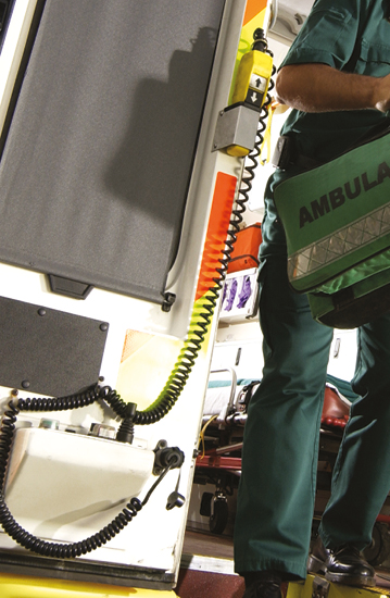 Image of a key worker leaving an ambulance